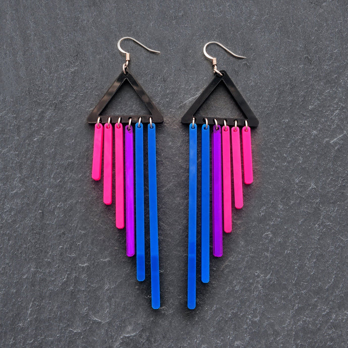 Earrings HOOK BI-FURIOUS DANGLES BIFURIOUS DANGLES - Bisexual Pride Earrings - Hook or Clip-on Earrings