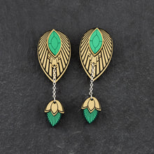 Load image into Gallery viewer, Earrings LARGE THE ATHENA I Emerald and Gold Stackable Earrings THE ATHENA I Emerald and gold Customisable Earrings I Handmade in Australia