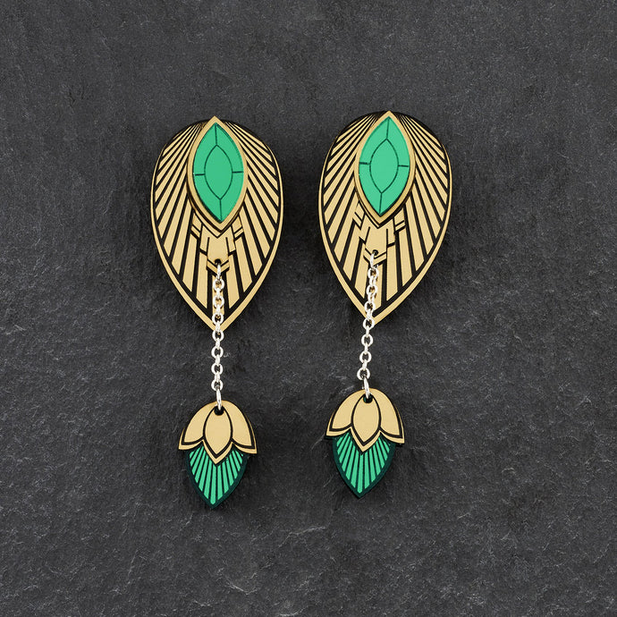 Earrings LARGE THE ATHENA I Emerald and Gold Stackable Earrings THE ATHENA I Emerald and gold Customisable Earrings I Handmade in Australia