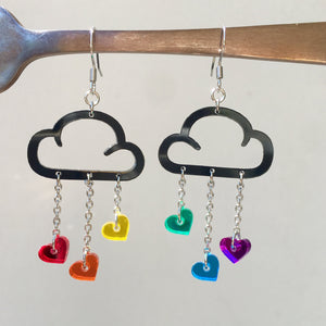 Earrings LOVE RAIN DANGLES LOVE RAIN DANGLES Cloud and Love Heart Dangle Earrings I Hook or clip-on Earrings