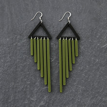Load image into Gallery viewer, earrings OLIVE / HOOK COLOUR POP CHIMES DANGLES Colour Pop Chimes Long Dangles | Hook or Clip-on Statement Earrings | MAINE+MARA Shop