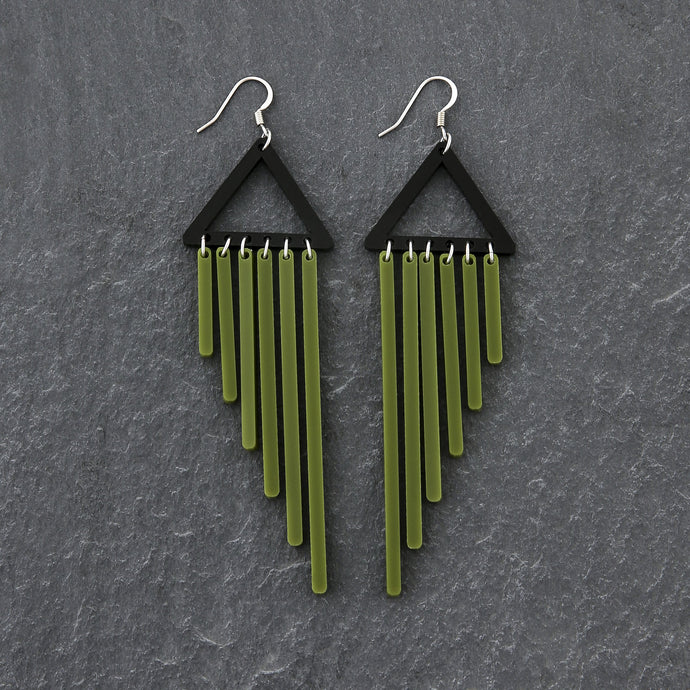 earrings OLIVE / HOOK COLOUR POP CHIMES DANGLES Colour Pop Chimes Long Dangles | Hook or Clip-on Statement Earrings | MAINE+MARA Shop