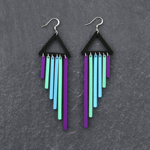 Load image into Gallery viewer, Earrings PEACOCK / HOOK BOLD BIRD CHIMES DANGLES Bold Colourful Long Dangles | Hook or Clip-on Statement Earrings | MAINE+MARA Shop