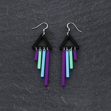 Load image into Gallery viewer, Earrings PEACOCK / HOOK BOLD BIRD CHIMETTES Bold Colourful Short Dangles | Hook or Clip-on Statement Earrings | MAINE+MARA Shop