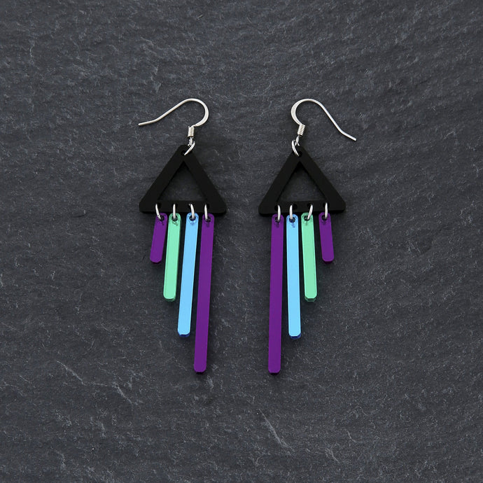 Earrings PEACOCK / HOOK BOLD BIRD CHIMETTES Bold Colourful Short Dangles | Hook or Clip-on Statement Earrings | MAINE+MARA Shop