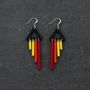 Earrings PHOENIX / HOOK BOLD BIRD CHIMETTES Bold Colourful Short Dangles | Hook or Clip-on Statement Earrings | MAINE+MARA Shop
