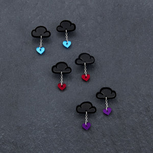earrings PURPLE / BLACK LOVE RAINDROPS LOVE RAINDROPS Cloud and Heart Earrings | Statement Studs | MAINE+MARA Shop