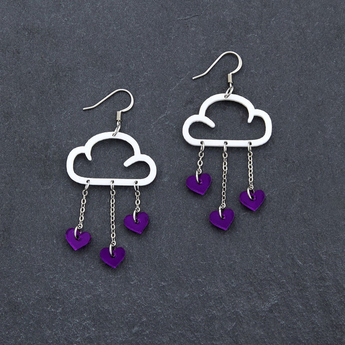 Earrings PURPLE HEARTS / WHITE / HOOK PURPLE RAIN DANGLES LOVE RAIN DANGLES Cloud and Love Heart Dangle Earrings I Hook or clip-on Earrings
