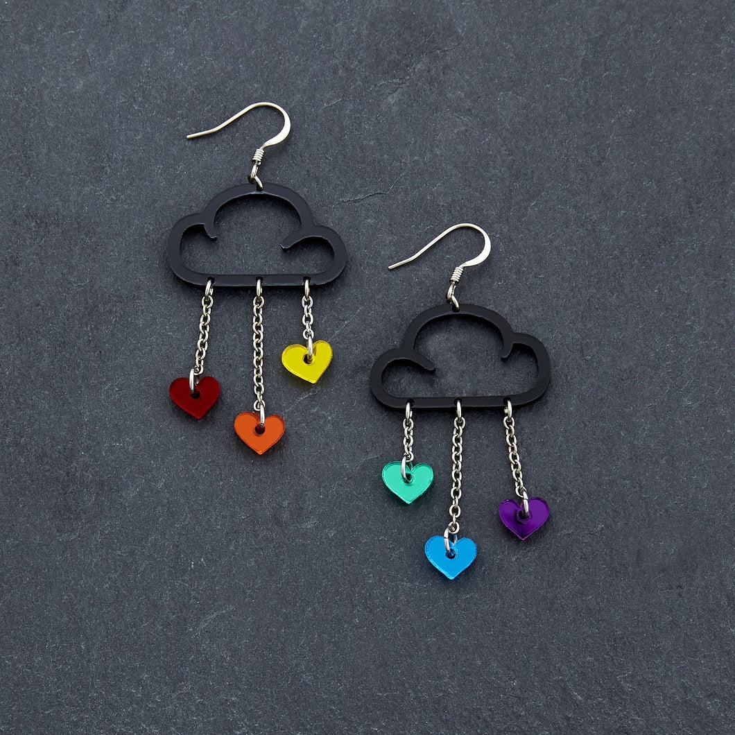 Earrings RAINBOW HEARTS / BLACK / HOOK LOVE RAIN DANGLES LOVE RAIN DANGLES Cloud and Love Heart Dangle Earrings I Hook or clip-on Earrings