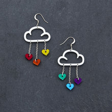 Load image into Gallery viewer, Earrings RAINBOW HEARTS / WHITE / HOOK LOVE RAIN DANGLES LOVE RAIN DANGLES Cloud and Love Heart Dangle Earrings I Hook or clip-on Earrings
