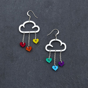 Earrings RAINBOW HEARTS / WHITE / HOOK LOVE RAIN DANGLES LOVE RAIN DANGLES Cloud and Love Heart Dangle Earrings I Hook or clip-on Earrings