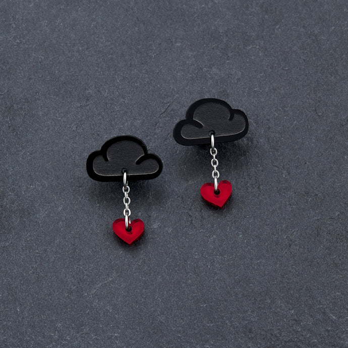 earrings RED / BLACK LOVE RAINDROPS LOVE RAINDROPS Cloud and Heart Earrings | Statement Studs | MAINE+MARA Shop