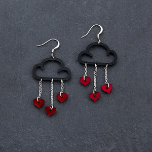 Earrings RED HEARTS / BLACK / HOOK LOVE RAIN DANGLES LOVE RAIN DANGLES Cloud and Love Heart Dangle Earrings I Hook or clip-on Earrings