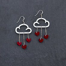 Load image into Gallery viewer, Earrings RED HEARTS / WHITE / HOOK LOVE RAIN DANGLES LOVE RAIN DANGLES Cloud and Love Heart Dangle Earrings I Hook or clip-on Earrings