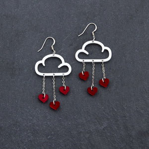 Earrings RED HEARTS / WHITE / HOOK LOVE RAIN DANGLES LOVE RAIN DANGLES Cloud and Love Heart Dangle Earrings I Hook or clip-on Earrings