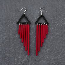 Load image into Gallery viewer, earrings RED / HOOK COLOUR POP CHIMES DANGLES Colour Pop Chimes Long Dangles | Hook or Clip-on Statement Earrings | MAINE+MARA Shop