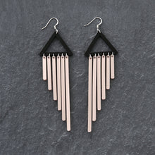 Load image into Gallery viewer, earrings ROSE GOLD / HOOK COLOUR POP CHIMES DANGLES Colour Pop Chimes Long Dangles | Hook or Clip-on Statement Earrings | MAINE+MARA Shop