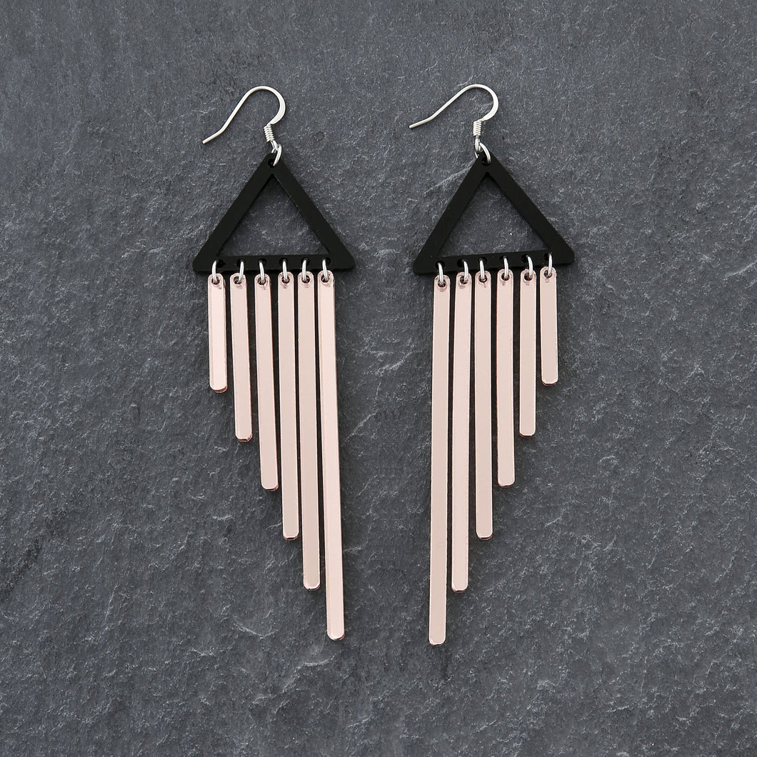 earrings ROSE GOLD / HOOK COLOUR POP CHIMES DANGLES Colour Pop Chimes Long Dangles | Hook or Clip-on Statement Earrings | MAINE+MARA Shop