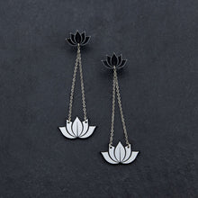Load image into Gallery viewer, earrings SILVER HANGING LOTUS DANGLES HANGING LOTUS DANGLES | Silver and Gold Statement earrings | MAINE+MARA Shop