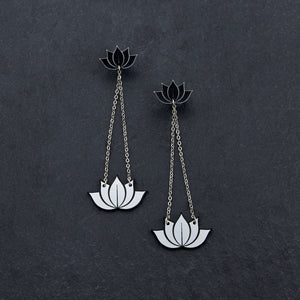 earrings SILVER HANGING LOTUS DANGLES HANGING LOTUS DANGLES | Silver and Gold Statement earrings | MAINE+MARA Shop