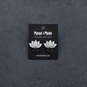 earrings SILVER LOTUS STUDS LOTUS STUDS | Silver and Gold Lotus Statement earrings | MAINE+MARA Shop