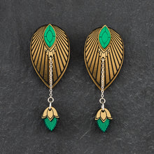 Load image into Gallery viewer, Earrings SMALL THE ATHENA I Emerald and Gold Stackable Earrings THE ATHENA I Emerald and gold Customisable Earrings I Handmade in Australia