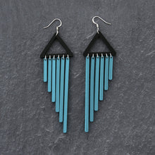 Load image into Gallery viewer, earrings TEAL / HOOK COLOUR POP CHIMES DANGLES Colour Pop Chimes Long Dangles | Hook or Clip-on Statement Earrings | MAINE+MARA Shop
