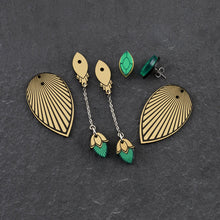 Load image into Gallery viewer, Earrings THE ATHENA I Emerald and Gold Stackable Earrings THE ATHENA I Emerald and gold Customisable Earrings I Handmade in Australia