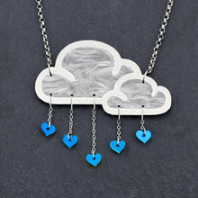 Load image into Gallery viewer, Jewellery BLUE WHITE LOVE RAIN CLOUD NECKLACE White Love Rain Cloud and Heart Necklace | Statement Necklace | MAINE+MARA Shop