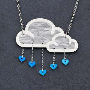 Jewellery BLUE WHITE LOVE RAIN CLOUD NECKLACE White Love Rain Cloud and Heart Necklace | Statement Necklace | MAINE+MARA Shop