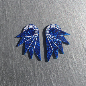 Jewellery CLIP ONS / MEDIUM SPREAD YOUR WINGS I NAVY BLUE Navy Blue Glittery Wings | Stud or Clip-on Statement Earrings | MAINE+MARA Shop