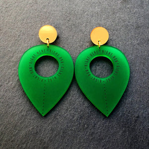 Jewellery GREEN RIGHT HERE, RIGHT NOW DANGLES RIGHT HERE RIGHT NOW DANGLES | Meaningful Statement Earrings | MAINE+MARA Shop