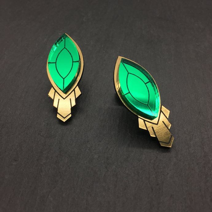 Jewellery LARGE THE ATHENA I EMERALD STUD EARRINGS THE ATHENA I EMERALD AND GOLD STATEMENT STUD EARRINGS