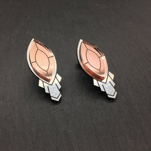Jewellery LARGE THE ATHENA I ROSE STUD EARRINGS THE ATHENA I ROSE GOLD AND SILVER STATEMENT STUD EARRINGS