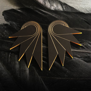 Jewellery MATTE BLACK / STUDS SPREAD YOUR WINGS I GRANDE Grande Art Deco Wings | Stud or Clip-on Statement Earrings | MAINE+MARA Shop
