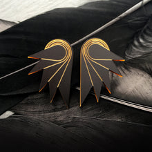 Load image into Gallery viewer, Jewellery MATTE BLACK / STUDS SPREAD YOUR WINGS I MEDIUM Medium Art Deco Wings | Stud or Clip-on Statement Earrings | MAINE+MARA Shop