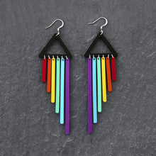 Load image into Gallery viewer, Jewellery PURPLE / HOOK RAINBOW CHEEKY CHIMES RAINBOW CHEEKY CHIMES I Statement Dangles I  Hook or Clip-on Earrings