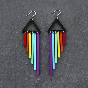 Jewellery PURPLE / HOOK RAINBOW CHEEKY CHIMES RAINBOW CHEEKY CHIMES I Statement Dangles I  Hook or Clip-on Earrings