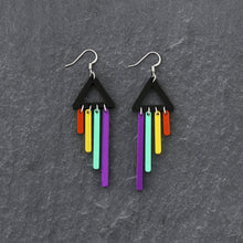 Load image into Gallery viewer, Jewellery PURPLE / HOOK RAINBOW CHIMETTES RAINBOW CHEEKY CHIMES + CHIMETTES Earrings, Studs and Clip ons available