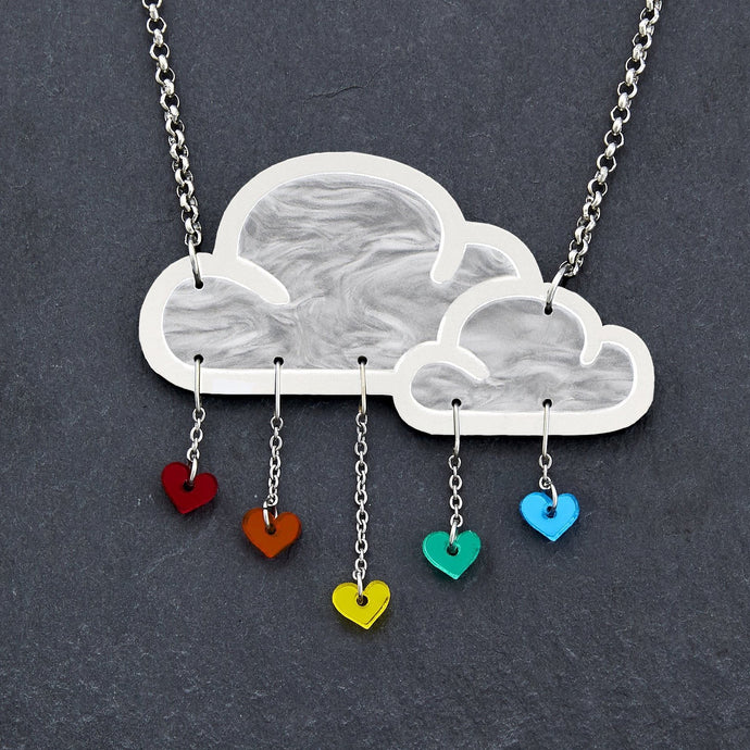 Jewellery RAINBOW WHITE LOVE RAIN CLOUD NECKLACE White Love Rain Cloud and Heart Necklace | Statement Necklace | MAINE+MARA Shop
