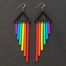 Load image into Gallery viewer, Jewellery RED / HOOK RAINBOW CHEEKY CHIMES RAINBOW CHEEKY CHIMES I Statement Dangles I  Hook or Clip-on Earrings