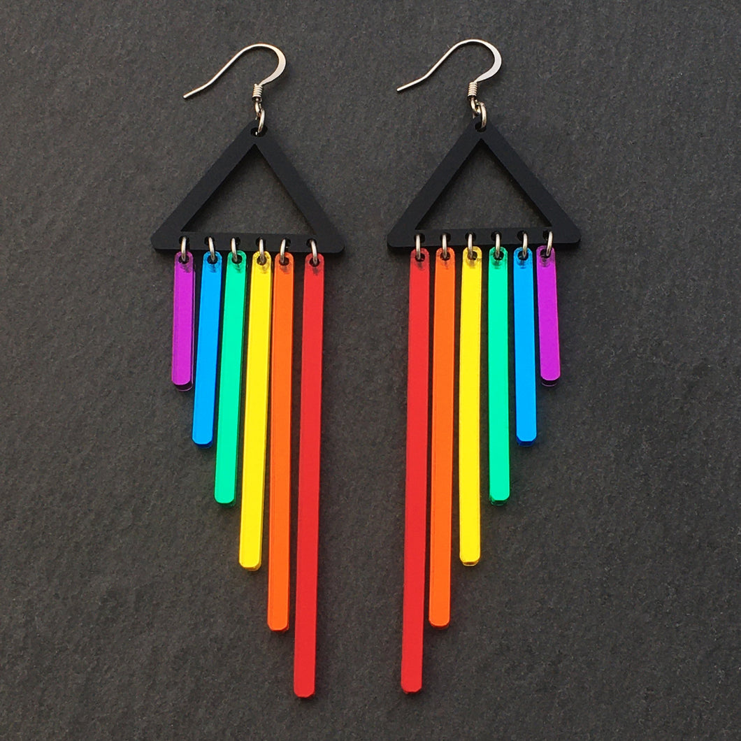 Jewellery RED / HOOK RAINBOW CHEEKY CHIMES RAINBOW CHEEKY CHIMES I Statement Dangles I  Hook or Clip-on Earrings