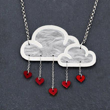 Load image into Gallery viewer, Jewellery RED WHITE LOVE RAIN CLOUD NECKLACE White Love Rain Cloud and Heart Necklace | Statement Necklace | MAINE+MARA Shop