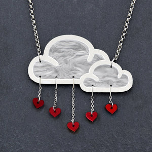 Jewellery RED WHITE LOVE RAIN CLOUD NECKLACE White Love Rain Cloud and Heart Necklace | Statement Necklace | MAINE+MARA Shop
