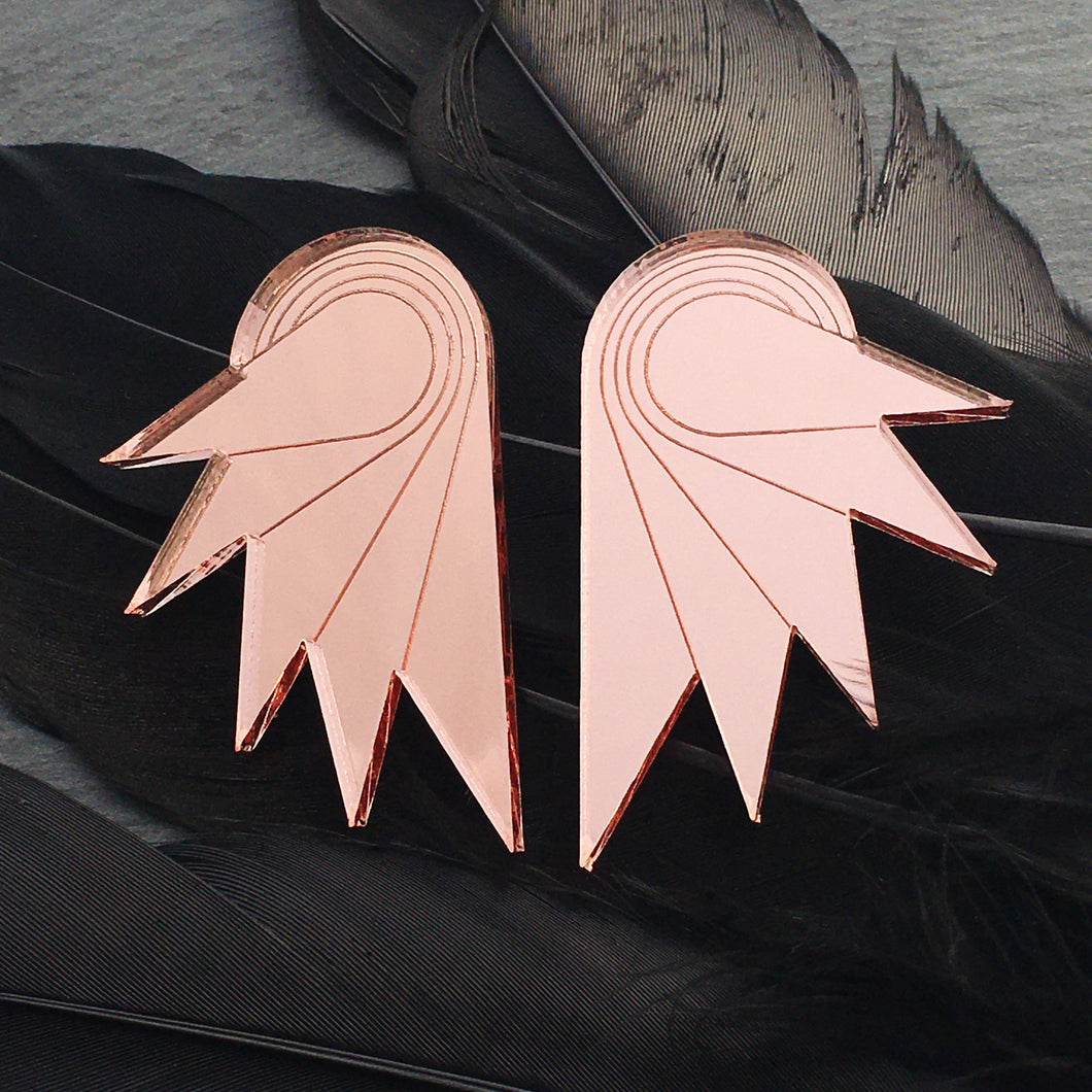 Jewellery ROSE GOLD MIRROR / STUDS / GRANDE SPREAD YOUR WINGS I ROSE GOLD Rose Gold Art Deco Wings | Stud or Clip-on Statement Earrings | MAINE+MARA Shop