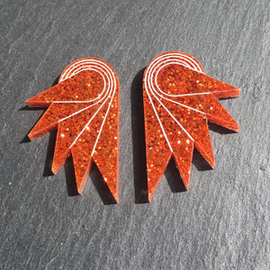 Jewellery STUDS / GRANDE SPREAD YOUR WINGS I BURNT ORANGE Burnt Orange Glittery Wings | Stud or Clip-on Statement Earrings | MAINE+MARA Shop