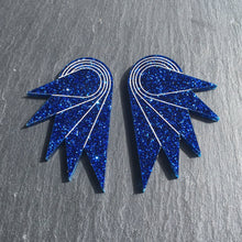 Load image into Gallery viewer, Jewellery STUDS / GRANDE SPREAD YOUR WINGS I NAVY BLUE Navy Blue Glittery Wings | Stud or Clip-on Statement Earrings | MAINE+MARA Shop