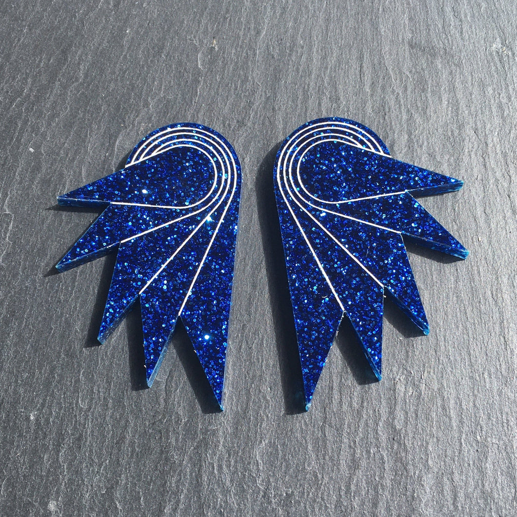 Jewellery STUDS / GRANDE SPREAD YOUR WINGS I NAVY BLUE Navy Blue Glittery Wings | Stud or Clip-on Statement Earrings | MAINE+MARA Shop