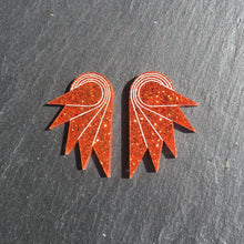 Load image into Gallery viewer, Jewellery STUDS / MEDIUM SPREAD YOUR WINGS I BURNT ORANGE Burnt Orange Glittery Wings | Stud or Clip-on Statement Earrings | MAINE+MARA Shop