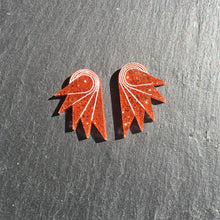 Load image into Gallery viewer, Jewellery STUDS / MINI SPREAD YOUR WINGS I BURNT ORANGE Burnt Orange Glittery Wings | Stud or Clip-on Statement Earrings | MAINE+MARA Shop